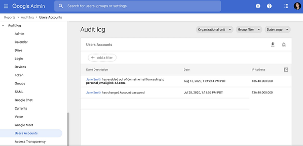 Google Admin page: Audit log