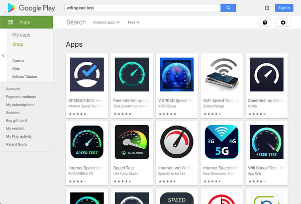 Screenshot of WiFi speed test apps on the Google Play store