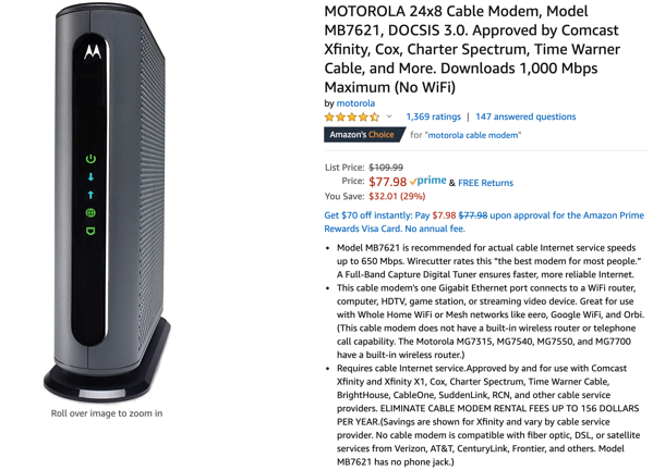 Motorola modem on Amazon