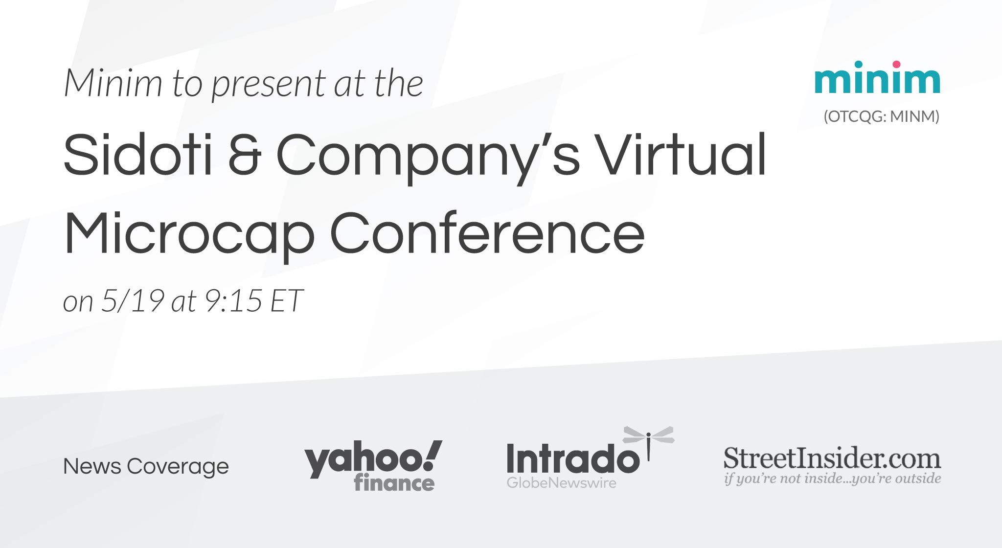 Minim to present at Sidoti and Company's Virtual Microcap Conference