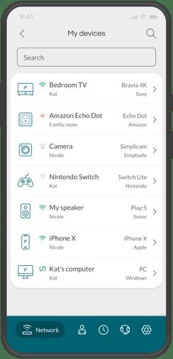 Minim mobile app - devices list