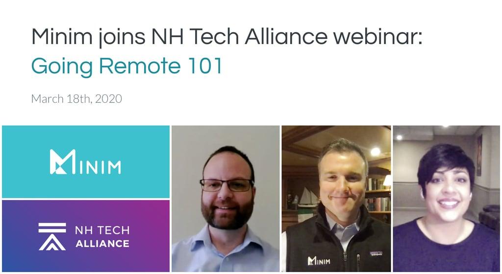 Minim joins NH Tech Alliance webinar: Going Remote 101