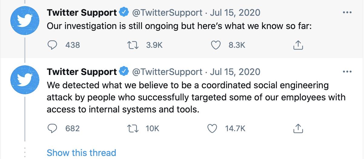 Screenshot from Twitter support regarding bitcoin breach