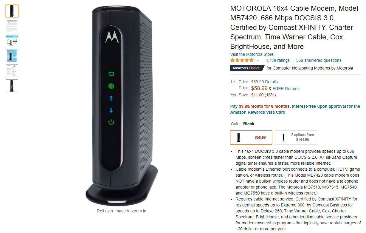Motorola MB7420 Amazon Screenshot